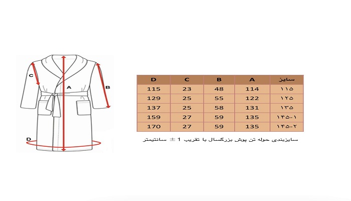قیمت، جدول سایز بندی و رنگبندی حوله های پالتویی